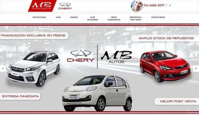 web producto Chery MB Autos